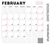 calendar planner for february... | Shutterstock .eps vector #1043760310