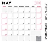 calendar planner for may 2018.... | Shutterstock .eps vector #1043760319