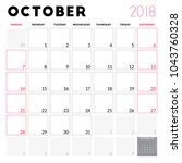 calendar planner for october... | Shutterstock .eps vector #1043760328