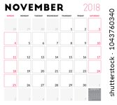 calendar planner for november... | Shutterstock .eps vector #1043760340