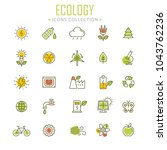collection of ecology thin line ... | Shutterstock .eps vector #1043762236