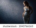silver dress  fashion model... | Shutterstock . vector #1043766163