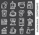 line vector coffee icons with... | Shutterstock .eps vector #1043766643