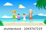 happy family jumping on... | Shutterstock .eps vector #1043767219