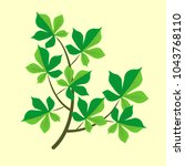 vector branch with green leaves.... | Shutterstock .eps vector #1043768110