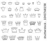 doodle set of crowns | Shutterstock .eps vector #1043768158