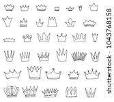 doodle set of crowns | Shutterstock .eps vector #1043768158