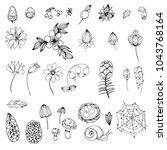 set of simple doodles of... | Shutterstock .eps vector #1043768164