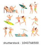 young and happy family on sunny ... | Shutterstock .eps vector #1043768500
