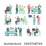 man and woman patients with... | Shutterstock .eps vector #1043768764