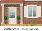 the facade of a brick... | Shutterstock .eps vector #1043769958