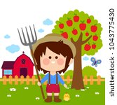 little farmer boy at the farm... | Shutterstock . vector #1043775430