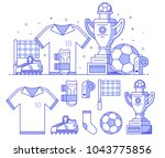 soccer icons with training... | Shutterstock .eps vector #1043775856