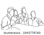 group of sketch men drinking... | Shutterstock .eps vector #1043778760