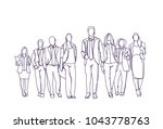 businesspeople group hand drawn ... | Shutterstock .eps vector #1043778763