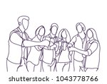 group of sketch people cheers... | Shutterstock .eps vector #1043778766