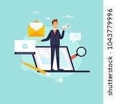 news online  newspaper ... | Shutterstock .eps vector #1043779996