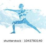water silhouette of woman in... | Shutterstock . vector #1043783140