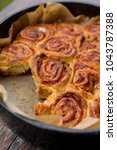 sweet rolls with cinnamon and... | Shutterstock . vector #1043787388