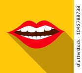 flat design red mouth with...   Shutterstock .eps vector #1043788738