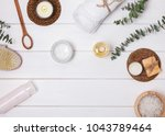 body care essentials on the...   Shutterstock . vector #1043789464