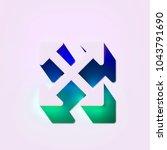 white arrows icon. 3d... | Shutterstock . vector #1043791690