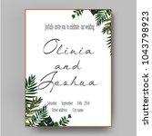 vector wedding invite... | Shutterstock .eps vector #1043798923