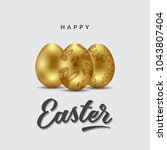 happy easter greeting card ... | Shutterstock .eps vector #1043807404