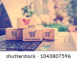 online shopping   ecommerce and ... | Shutterstock . vector #1043807596