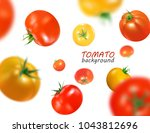 fresh red and yellow tomatoes... | Shutterstock .eps vector #1043812696