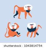 set of funny monkeys in... | Shutterstock .eps vector #1043814754