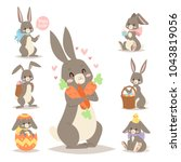 Stock vector easter rabbit vector holiday bunny rabbit and easter eggs pose cute happy spring adorble rabbit 1043819056