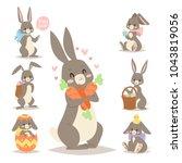 easter rabbit vector holiday... | Shutterstock .eps vector #1043819056