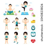 yoga and fitness character and...   Shutterstock .eps vector #1043823826
