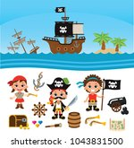 children pirates  ships and... | Shutterstock .eps vector #1043831500