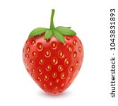 strawberry realistic. 3d vector ... | Shutterstock .eps vector #1043831893