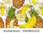 pineapples bananas on grunge...   Shutterstock . vector #1043832223