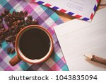 black coffee and notepaper and... | Shutterstock . vector #1043835094
