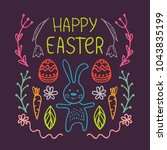 happy easter greeting card with ... | Shutterstock .eps vector #1043835199
