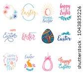 happy easter. egg  rabbit ... | Shutterstock .eps vector #1043835226