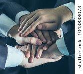 concept of team work a close up ...   Shutterstock . vector #1043838073