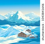 winter mountain landscape with... | Shutterstock .eps vector #1043841646