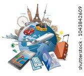 concept illustration of travel... | Shutterstock . vector #1043842609