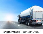 gas truck on highway road with... | Shutterstock . vector #1043842903
