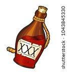 bottle of rum tattoo | Shutterstock . vector #1043845330
