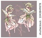 angel and flowers vector... | Shutterstock .eps vector #1043849878