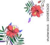 watercolor tropical plants ...   Shutterstock . vector #1043852620