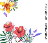 greeting card with watercolor... | Shutterstock . vector #1043854219