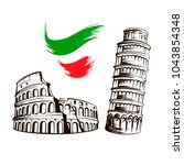 italy culture symbols or... | Shutterstock .eps vector #1043854348