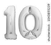number ten 10 made of silver...   Shutterstock . vector #1043855239